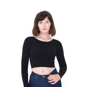 American Apparel Black Long-Sleeve Crop Top