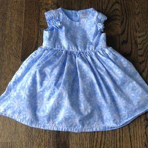 Baby Girls Powder Blue & White Flower Print Dress