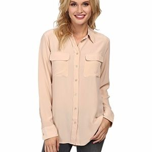 NWT Equipment Femme Nude Silk LS Blouse size M