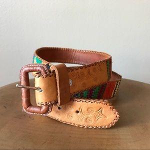Vintage Tooled Guatemala Cotton Woven Belt