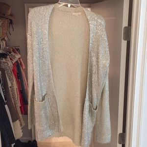 Tulle silver sweater cardigan