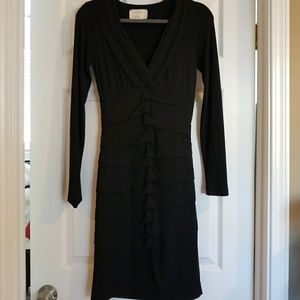 Nicole Miller Ruched Long Sleeve Dress