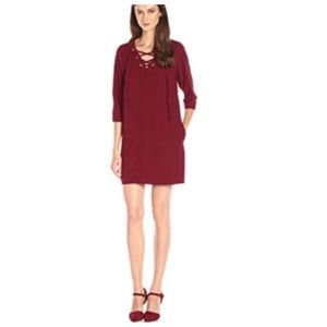 NWT KENSIE Womens Crepe Lace-Up Casual Dress