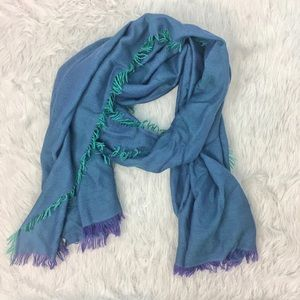 Nordstrom 100% cashmere wrap teal purple scarf