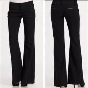 Work, Dress Black Pant Trousers, leather trim