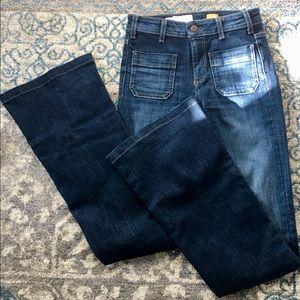 Pilcro Superscript jeans front flap pockets flare