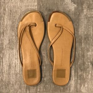Dolce vita slip on tan & gold sandals 8