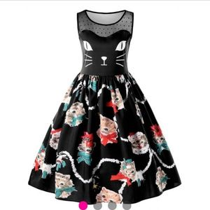 Holiday Cat Dress NWT