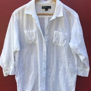 Elizabeth and James White Shirt Button Down Top