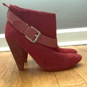 GUESS Carolyn Red Suede Booties