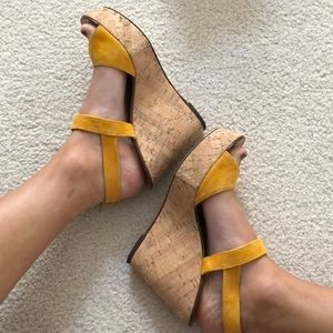 Gold suede wedges