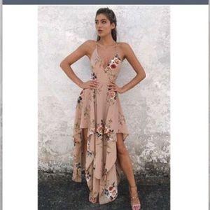 Nude beige floral dress size medium