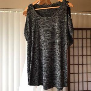 Black and gray peep shoulder tee