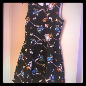 H&M jewel printed scuba flared dress