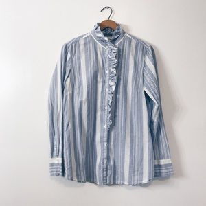Banana Republic striped ruffled button up blouse