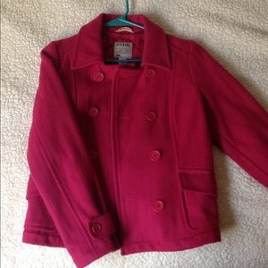 Dark pink wool pea coat