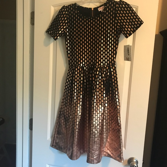 9f5a49208837 LuLaRoe Dresses | Elegant Amelia Black Rose Gold Foil Dipped Dress ...