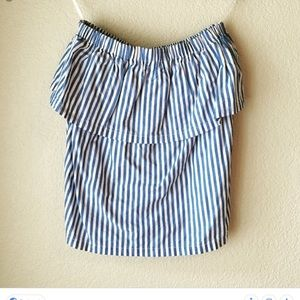 H&M Blue and White striped tube top