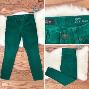 J. Crew Green Corduroy Toothpick Jeans Size 27