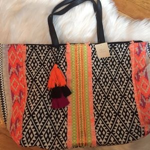 NWT Asos Ikat beach bag with pom pom tassels