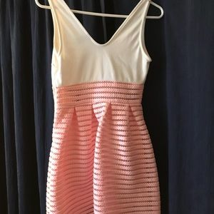 Pink and white short dress