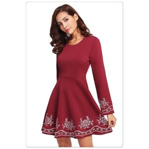 Dresses & Skirts - 🎉HP🎉Burgundy Embroidered Long Sleeve Flare Dress