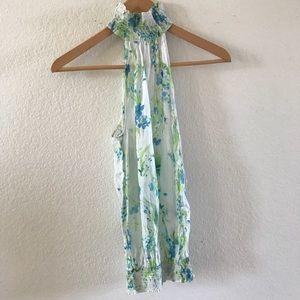 Zara sleeveless high neck floral top cotton silk M