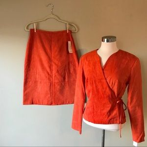 Vintage Deadstock Clio Microsuede Skirt & Wrap Top