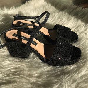 Zara block heel glitter weave shoes