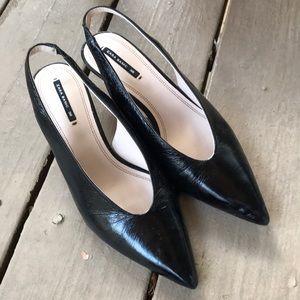Zara sling back kitten heels black
