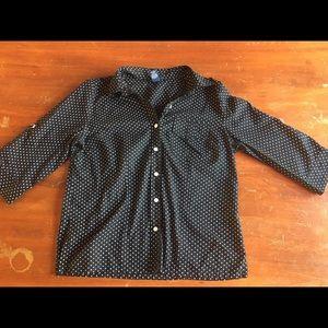 Karen Scott polkadot blouse