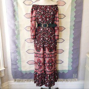 Vintage Boho Off The Shoulder Dress