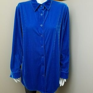 Soft Surroundings L Velvety Blue Button Down Top