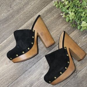 Black Suede High Heel Clogs