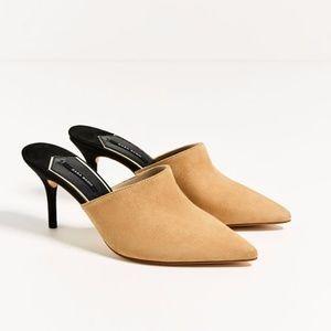 ZARA Leather Backless Heels
