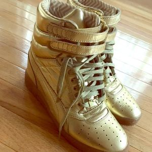 PUMA Metallic Gold Wedge Sneakers