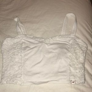 White Crop Top - Lace Flower Sides - Hollister