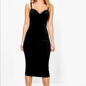 Boohoo Davie Velvet seam Midi Bodycon Dress