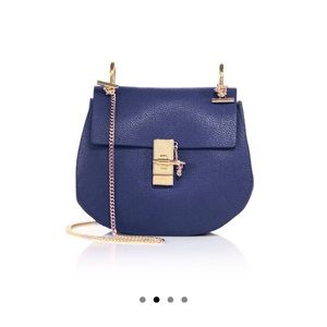 Blue Chloe Drew small leather saddle crossbody bag