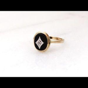 💍 Vintage Art Deco 10k Onyx Diamond Ring Size 5