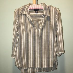H&M blue and green striped shirt