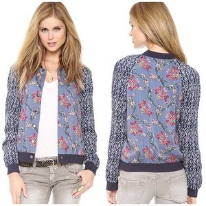 Free People Floral Bomber Baseball Jacket