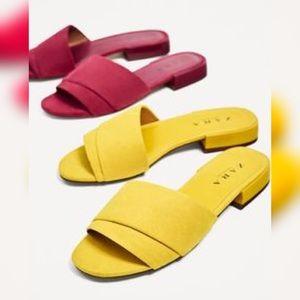 ZARA Yellow Suede Mule Clogs Slides Slipper Shoes!