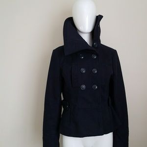 Navy Blue large collar Coat