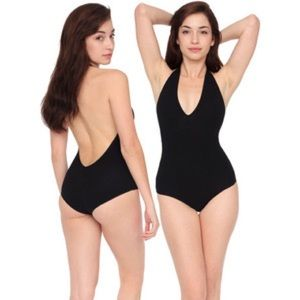 American Apparel Halter Bodysuit (black)