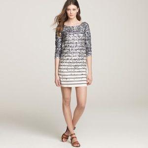 J.Crew Merino Sequin Confetti Stripe Sweater Dress