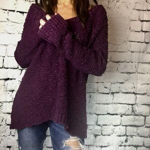 Free people sweater burgundy oversized Sz M