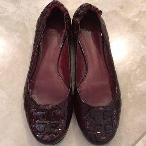 Tory Burch Cranberry Patent Croc Reva flats