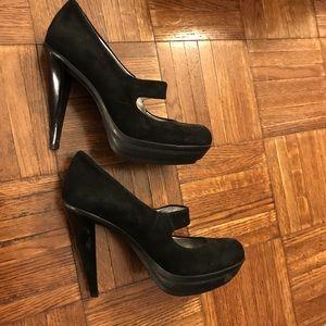 Calvin Klein black suede Mary Jane heels.
