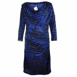 Like New MANGO Cowl Draped Bodycon Print Dress A5